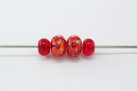 Bubble flower and spacer bead set - Red