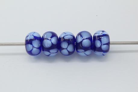 Bubble flower beads - cobalt