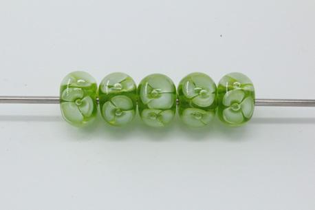 Bubble flower beads - green