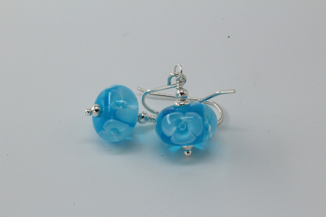 Bubble flower earrings - aquamarine