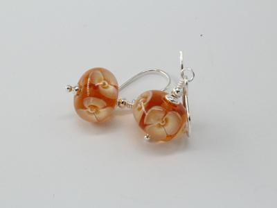 Bubble flower earrings - caramel
