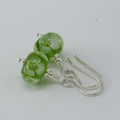 Bubble flower earrings - green