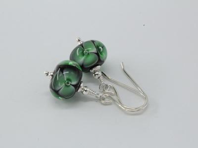 Bubble flower earrings - Green on black
