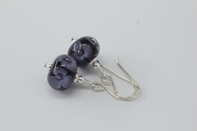 Bubble flower earrings - Ink blue