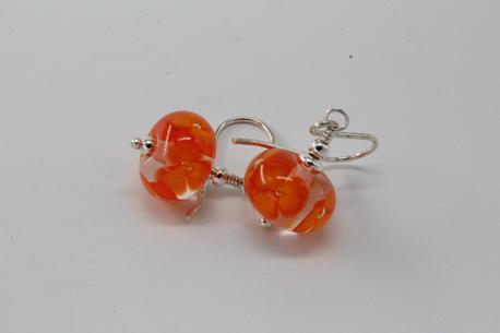 Bubble flower earrings - orange