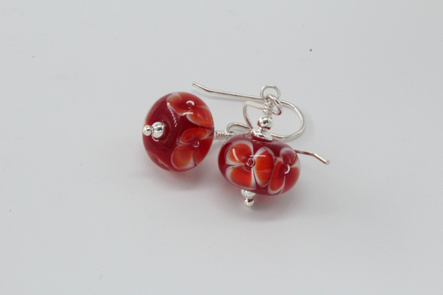 Bubble flower earrings - red