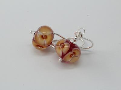 Bubble flower earrings - Toffee