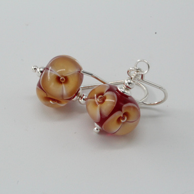 Bubble flower earrings - Toffee