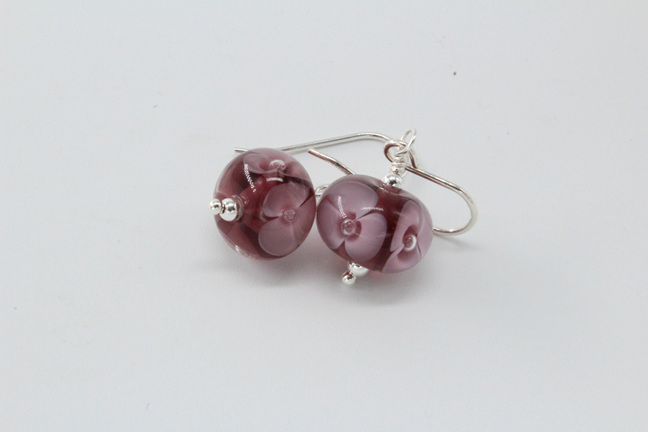 Bubble flower earrings - violet