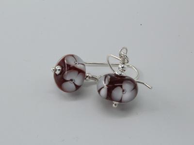 Bubble flower earrings - white on cherry red