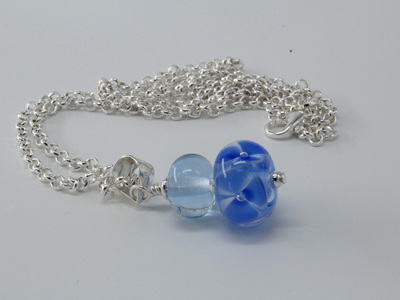 Bubble flower pendant - pale blue