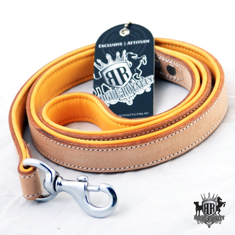 Bucksin Padded Strong Leather Leash by Rogue Royalty