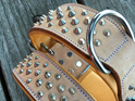 Buckskin Studded Leather Dog Collar for Large Dogs by Rogue Royalty