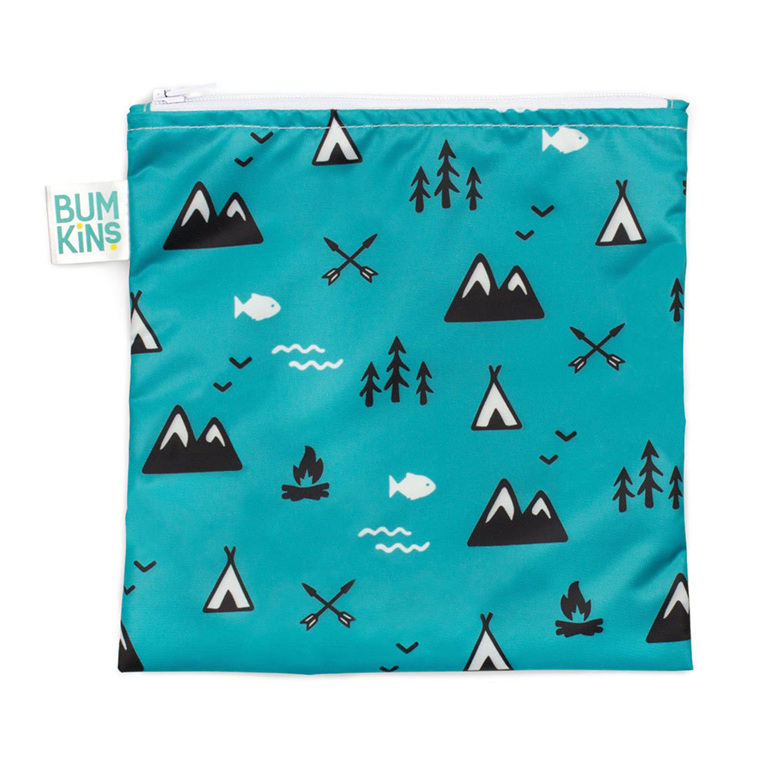 Bumkins outdoor design large snack bag. reusable and machine washable