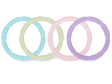 Bumkins Silicone Teething Rings 4 Pack Pastels