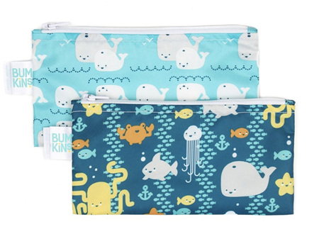 Bumkins Snack Bag Small 2 Pack Sea Friends Whales