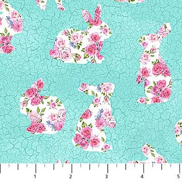 Bunny Love -Bunny Floral Blue