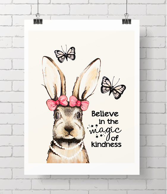 bunny with quote - on A3