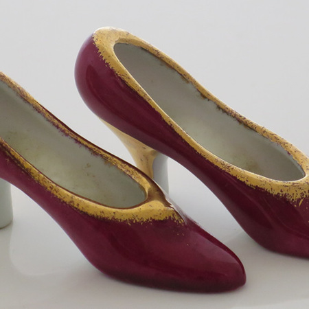 Burgundy and gold shoes