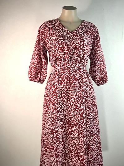 Burgundy linen April dress