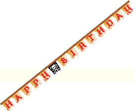 Buried Treasure - Pirate Happy Birthday Jointed Banner
