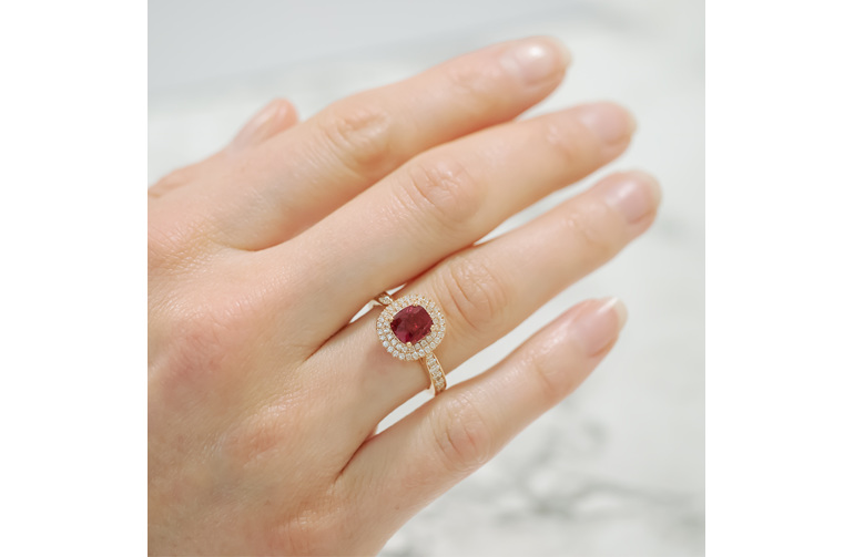 burmese red spinel and diamond dress ring