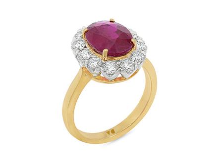Burmese Ruby and Diamond Halo Ring