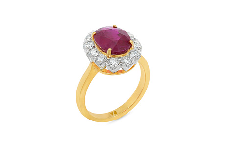 Burmese Ruby and Diamond Halo Ring