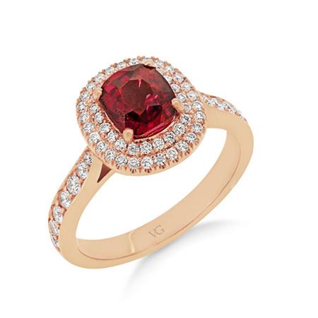 Burmese Spinel and Diamond Ring