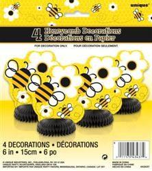 Busy Bee 4 mini Honeycomb Decorations