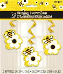 Busy Bees Hanging Swirls x 3
