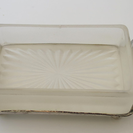 Butter dish with thistles stand