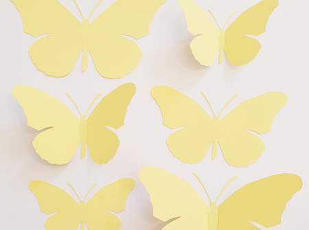 Butter yellow paper butterflies