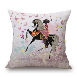 BUTTERFLIES AND SPANISH DANCING HORSE CUSHION COVER