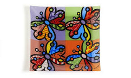 Butterflies- Glass Square Plates - Romero Britto
