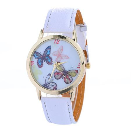 Butterflies Watch - White Strap