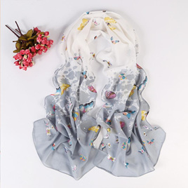 Butterfly Chiffon Scarf - White Grey