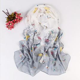 Butterfly Chiffon Scarf - White Grey