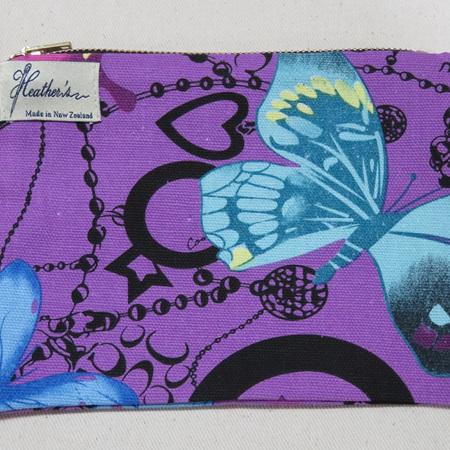 Butterfly Cosmetic Purse - Purple Medium