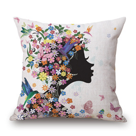 BUTTERFLY & FLORAL HEADPIECE CUSHION COVER