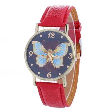 Butterfly Pattern Dark Background Ladies Watch - Red