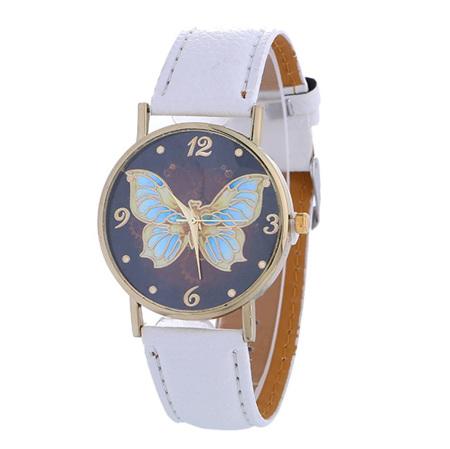 Butterfly Pattern Dark Background Ladies Watch - White