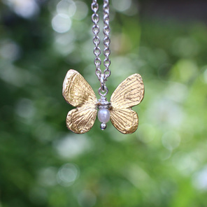 butterfly sterling silver 14k gold cream pearl necklace kinetic delicate nature