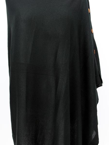 Button Poncho - Black