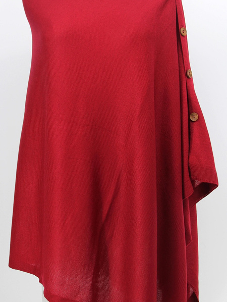 Button Poncho - Blood Red