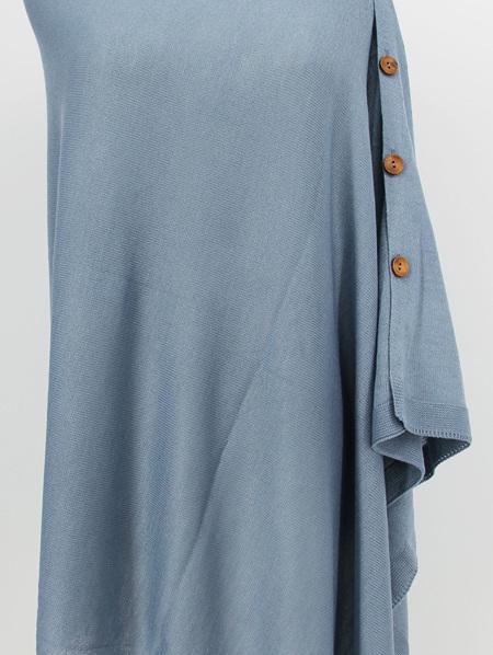 Button Poncho - Denim Blue