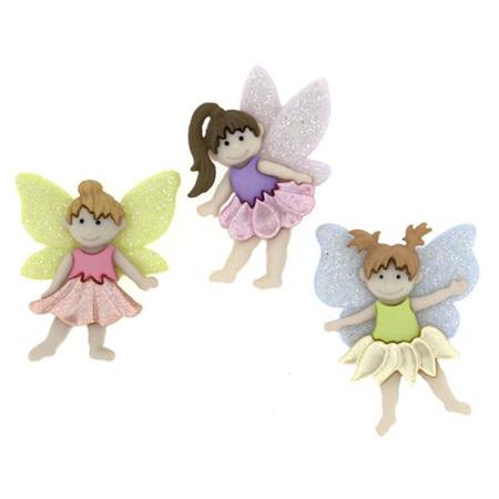 Buttons x 3: Flower Fairies