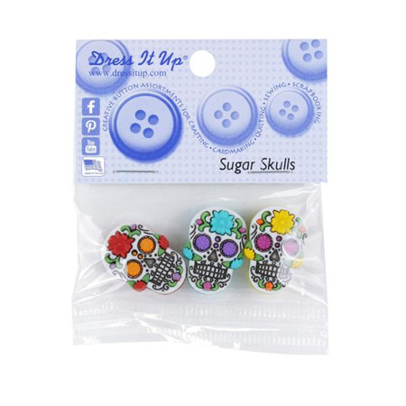 Buttons x 3: Sugar Skulls