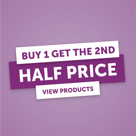 Buy 1 Get the 2nd Half Price
