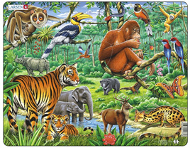 Larsen Tray Jigsaw Puzzle: Asian Jungle Animals